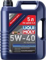 LiquiMoly НС-Масло моторное Optimal Synth 5W-40 SN/CF; A3/B4 - 5 л.